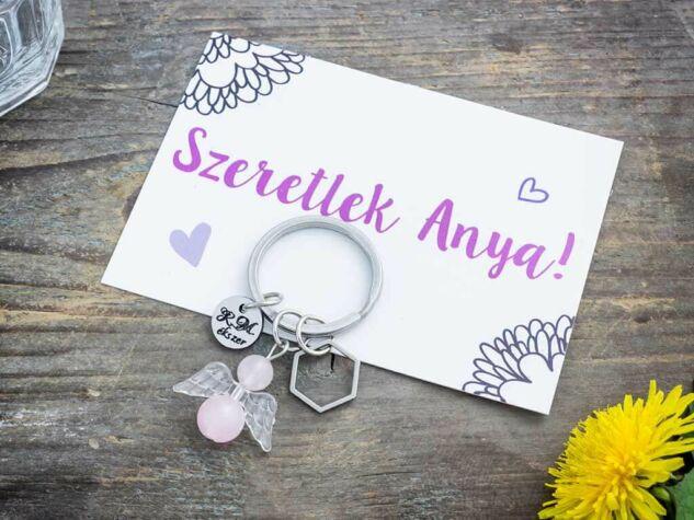 Szeretlek Anya kulcstartó rózsakvarc angyalkával