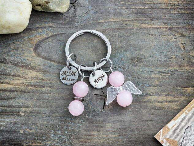Szeretlek Anya kulcstartó mennyei rózsakvarc angyalkával