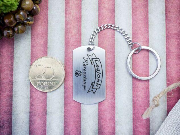Legjobb Keresztanya acél szögletes medálos kulcstartó