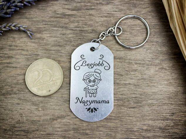 Legjobb Nagymama szögletes medálos kulcstartó