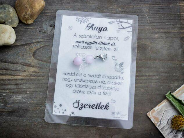 Köszönöm Anya rózsakvarc angyal medál kártyával
