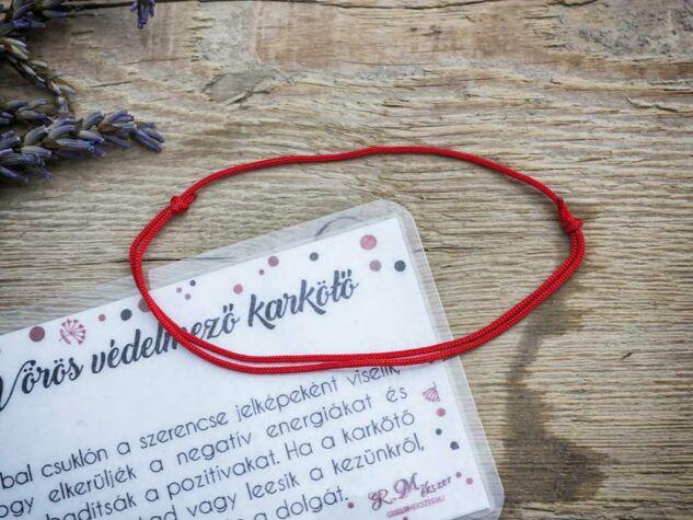 Kabbala védelmező vörös microcord karkötő kártyával