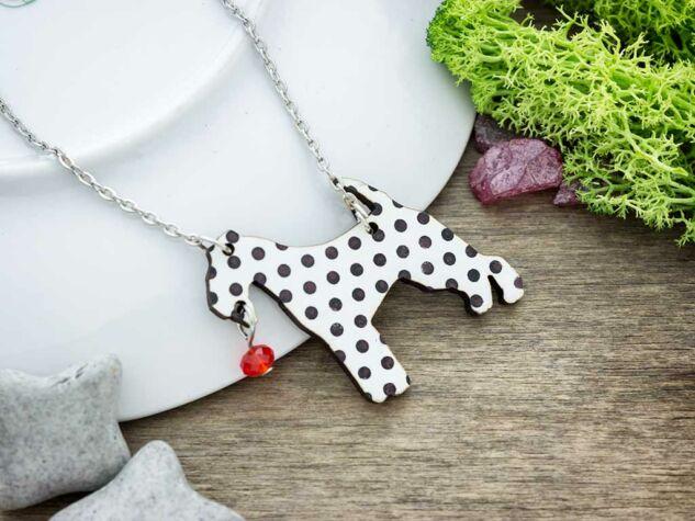 Retro pöttyös kutya falemez medál ezüst színű nyakláncon