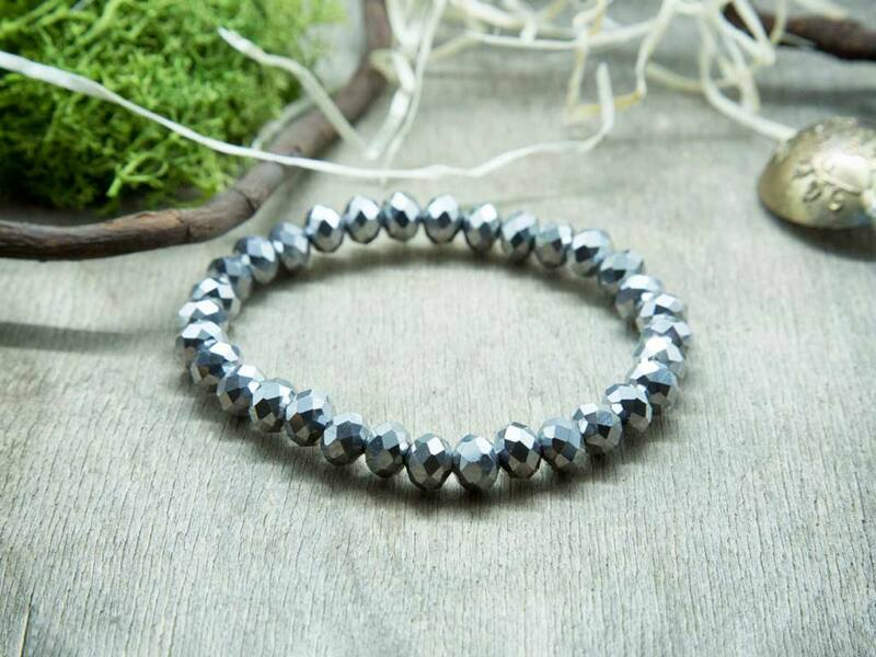 Ezüst csillogás kristály gyöngy karkötő