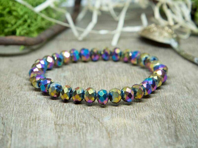 Kaleidoszkóp színei kristály gyöngy karkötő