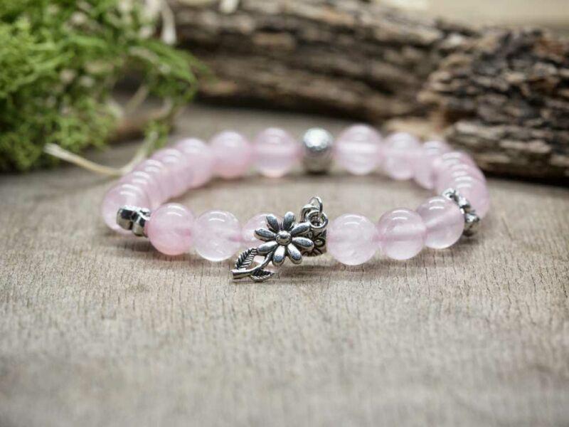 Szeretet szirmai rózsakvarc ásvány karkötő