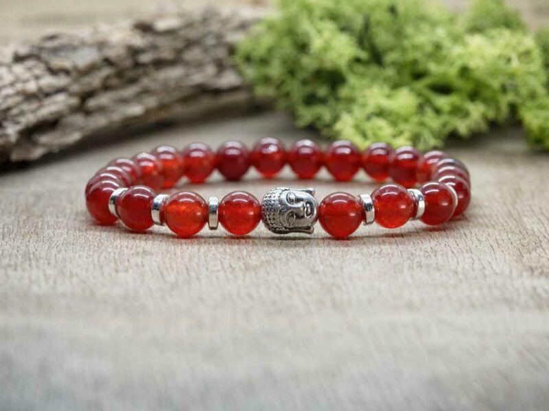 Piros Buddha jáde ásvány karkötő
