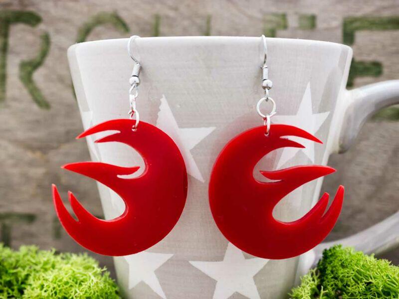 Vörös rebels phoenix plexi fülbevaló