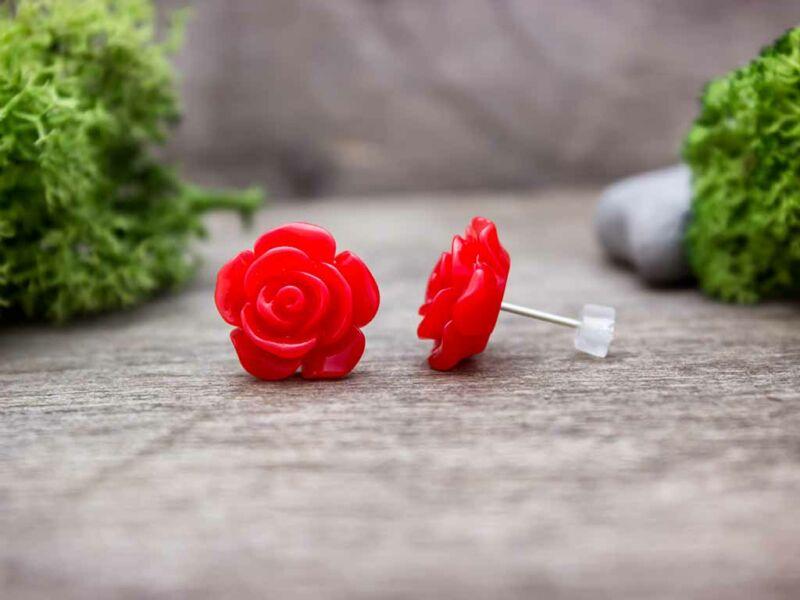 Nagy piros rózsa fülbevaló