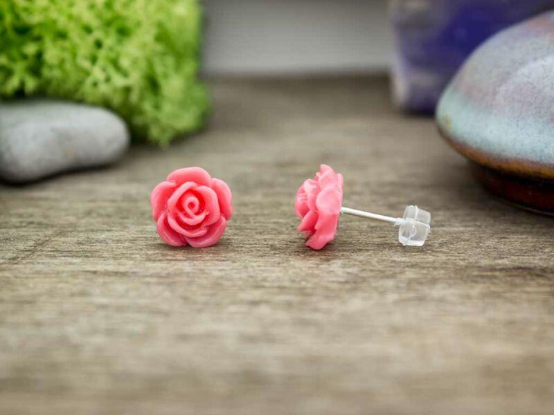 Rózsaszínű rózsa fülbevaló