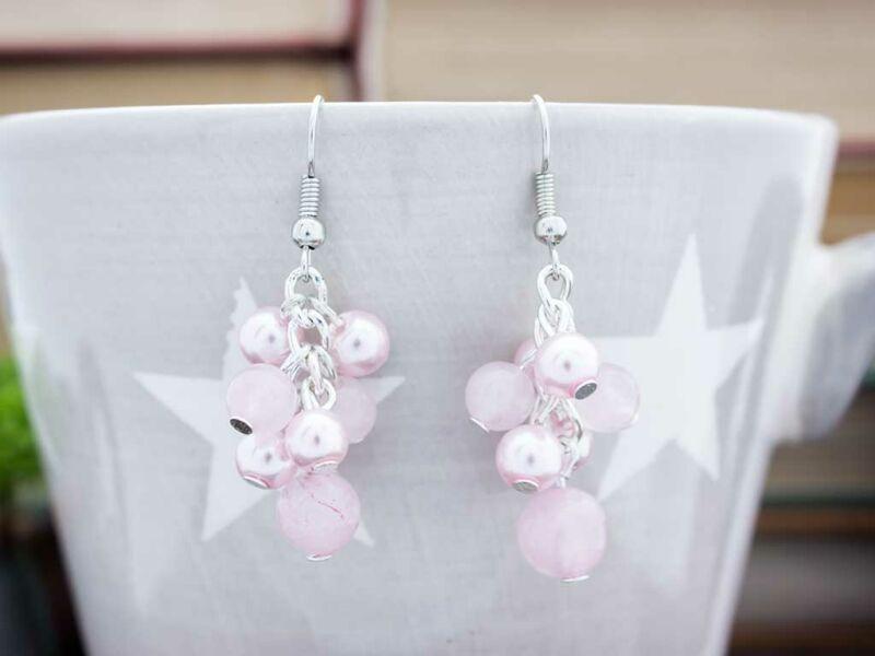 Bubble rózsakvarc fülbevaló