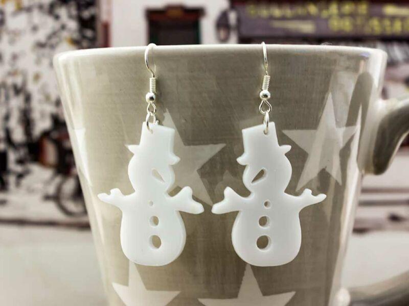 Karácsonyi hóember plexi fülbevaló