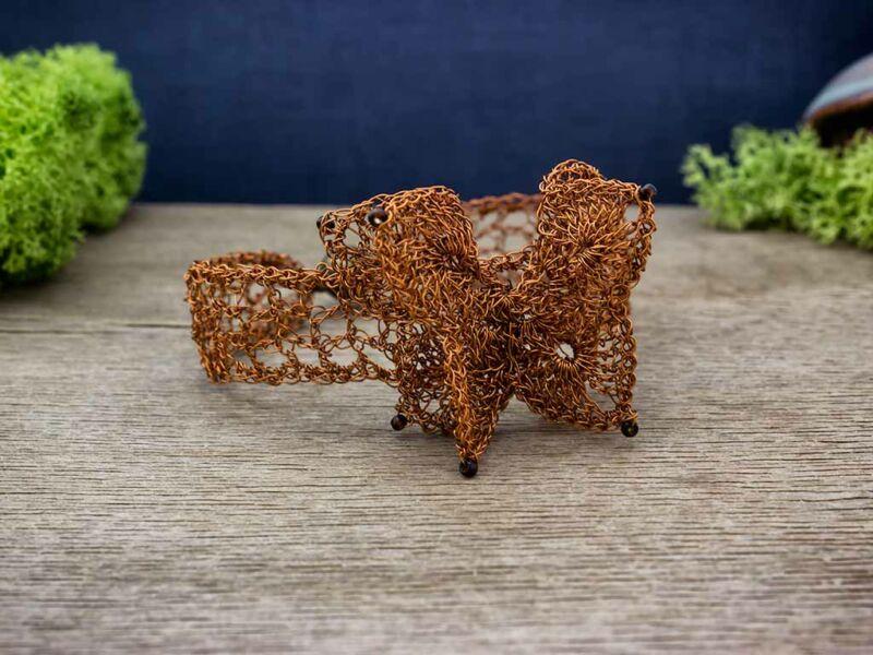 Pillangós horgolt drót csipke karkötő