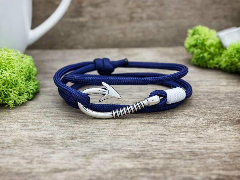 Kék és fehér hydra paracord karkötő