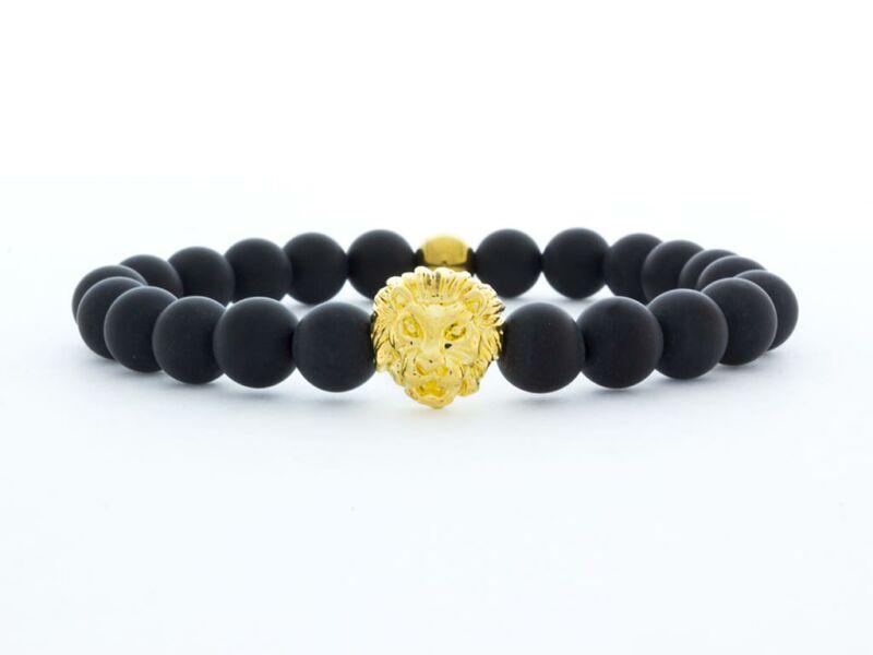 Matt ónix arany színű oroszlános ásvány karkötő