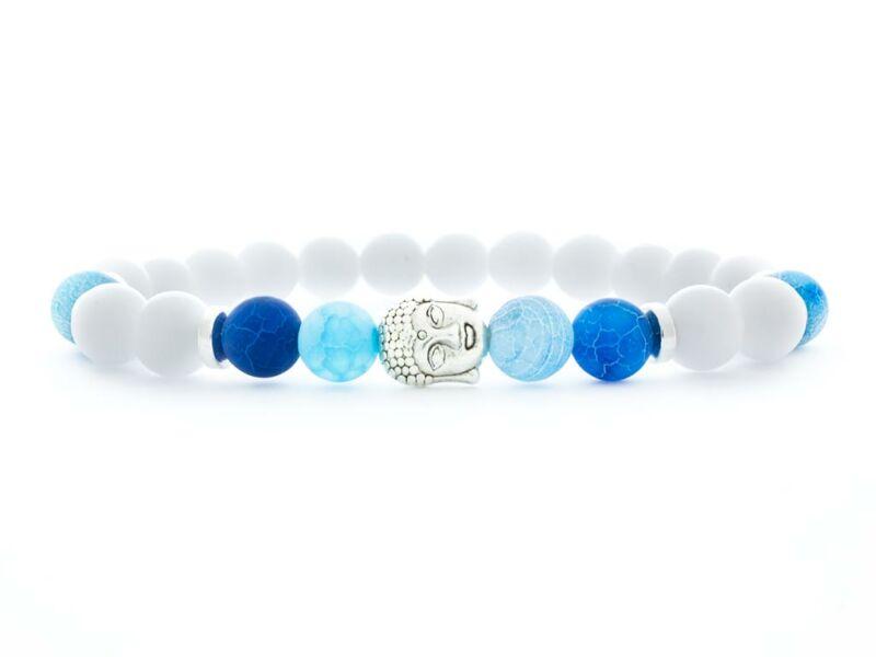 Jáde és kék achát buddha ásvány karkötő