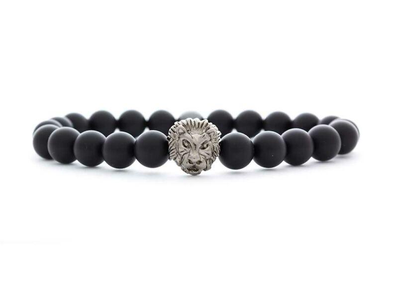 Matt ónix ezüst színű bátor oroszlános ásvány karkötő