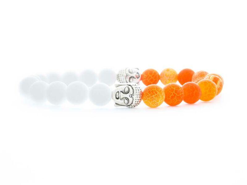 Jáde és narancssárga achát feles buddha ásvány karkötő