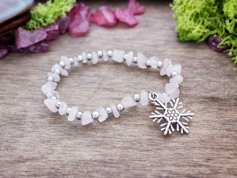 Hópehely rózsakvarc szemcse ásvány karkötő