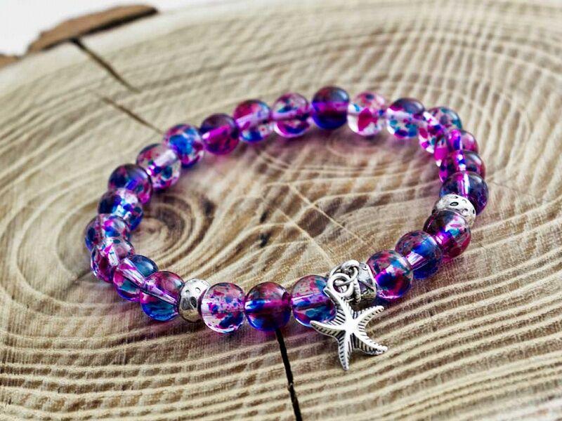 Üveg gyöngyös tengeri csillag karkötő