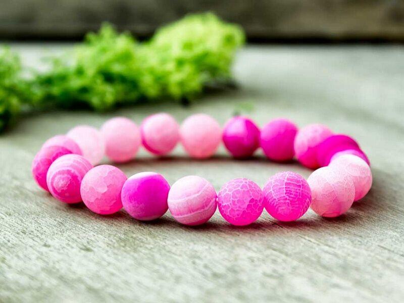 Pink achát ásvány karkötő