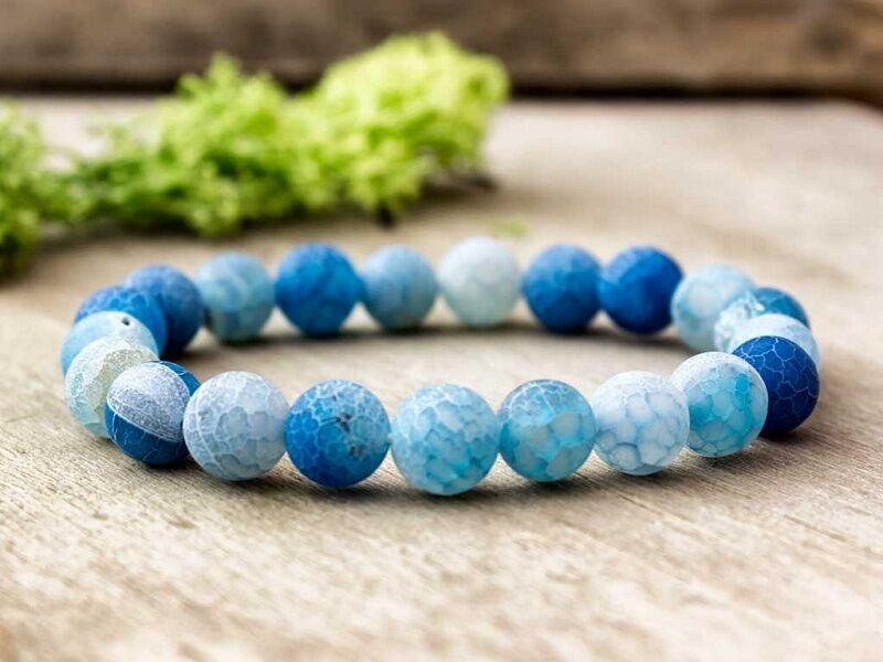 Kék achát ásvány karkötő