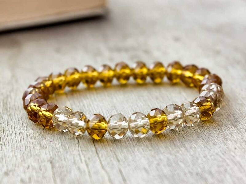 Sárga kristály karkötő