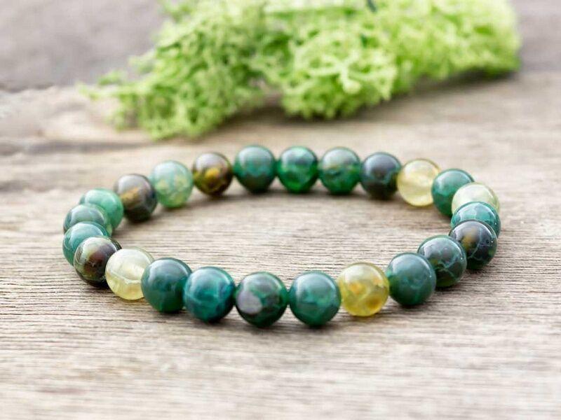 Zöldike achát ásvány karkötő