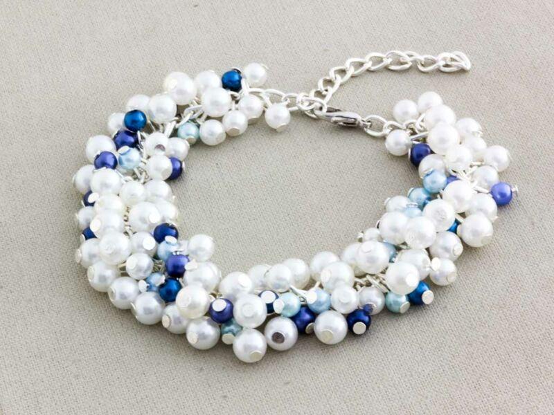 Bubble tekla gyöngyös kék és fehér matróz karkötő