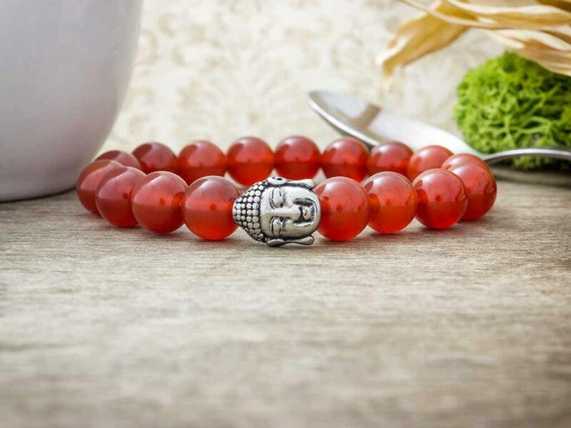 Barátság acél Buddha karneol ásvány karkötő