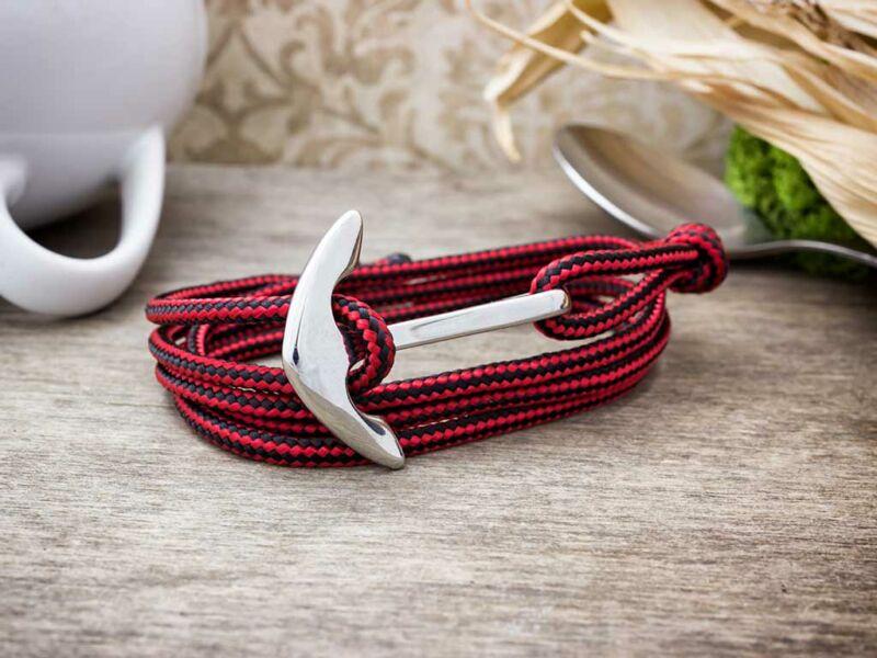 Vörös és fekete horizont acél horgony paracord karkötő