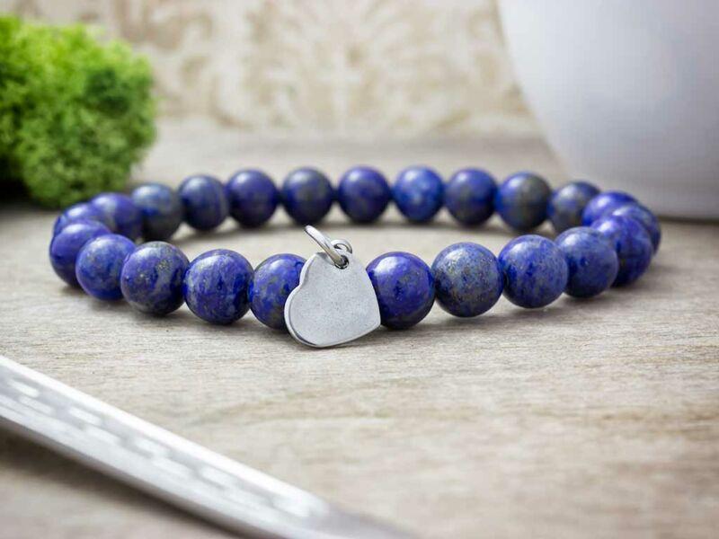 Gravírozható szív acél medálos lápisz lazuli ásvány karkötő