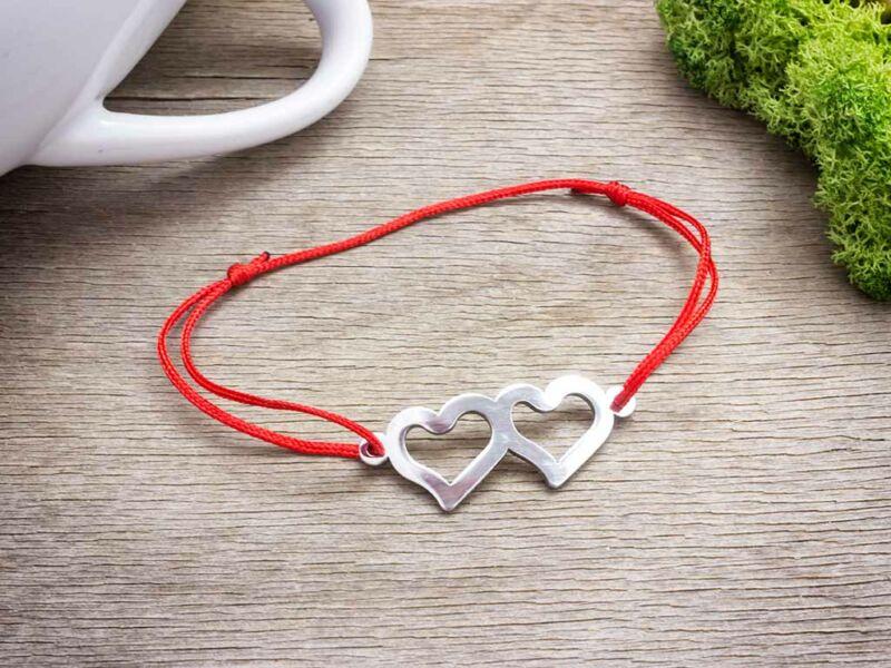 Acél dupla szív medálos vörös MiniM nanocord karkötő