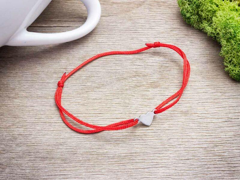 Gravírozható acél mini szív medálos vörös MiniM nanocord karkötő