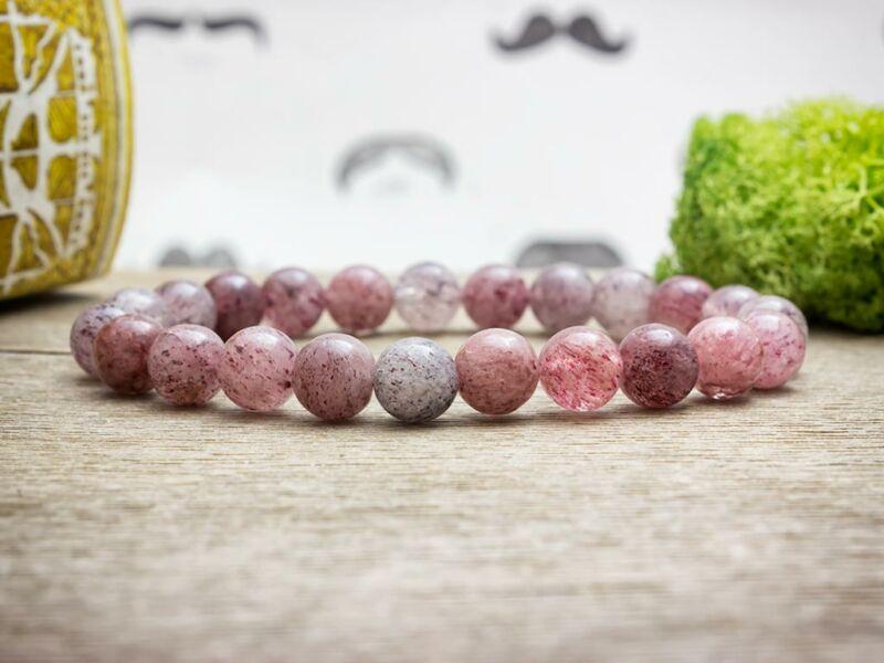 Édes cseresznyekvarc ásvány karkötő