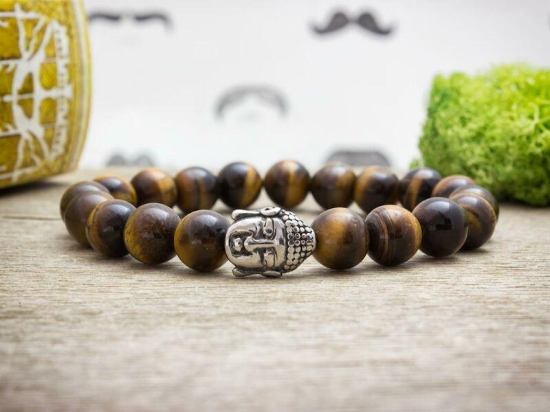 Megfigyelés acél Buddha tigrisszem ásvány karkötő