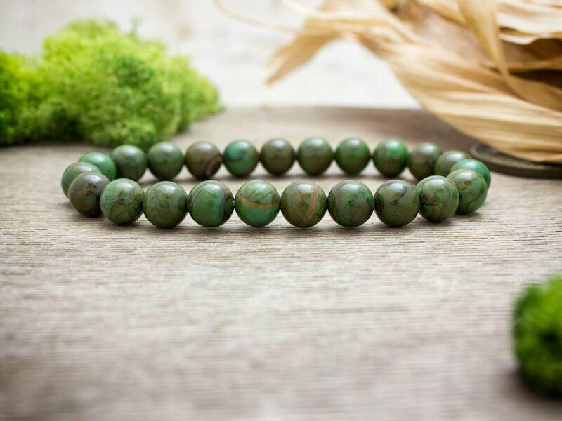 Legfőbb erény zöld jáde ásvány karkötő