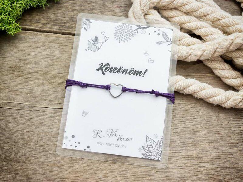 Köszönöm lila szív medálos kívánság karkötő