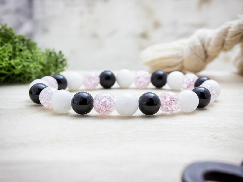 Rózsaszín szeretetet vegyes ásvány karkötő