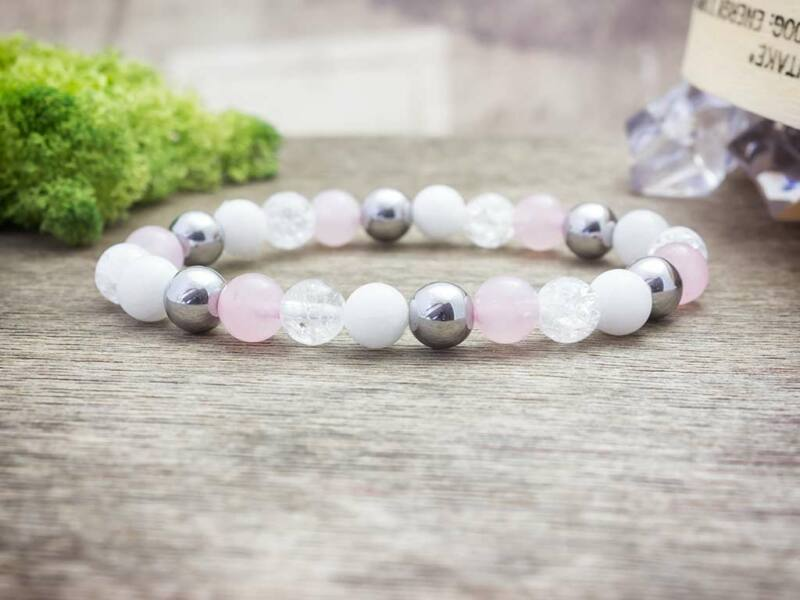 Rózsaszín vitalitás vegyes ásvány karkötő