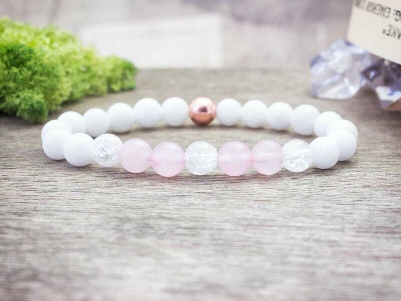 Rózsaszín rozé vegyes ásvány karkötő