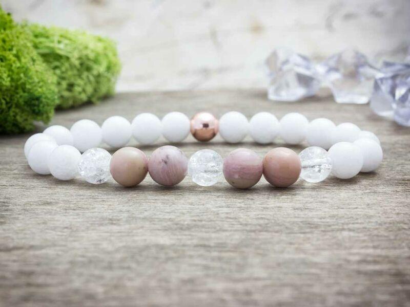 Pink rozé vegyes ásvány karkötő