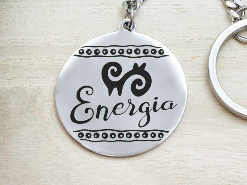 Energia afrikai szimbólum acél medálos kulcstartó