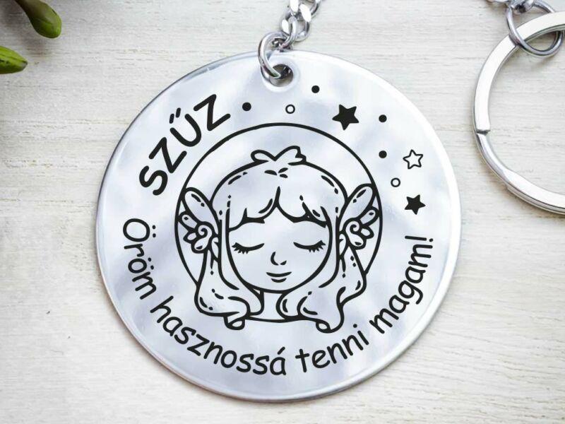 Szűz lovely horoszkóp acél medálos kulcstartó