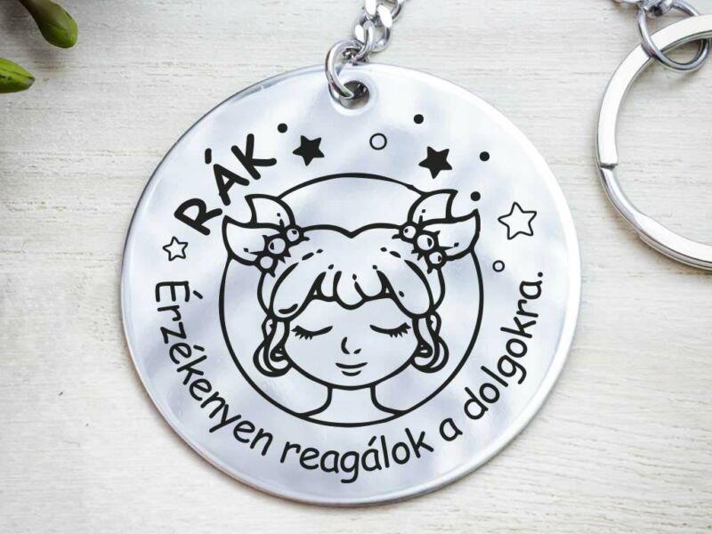 Rák lovely horoszkóp acél medálos kulcstartó