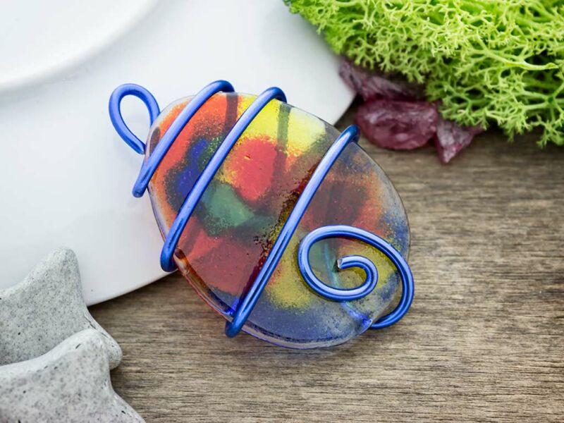 Színkavalkád ovális üveg medál