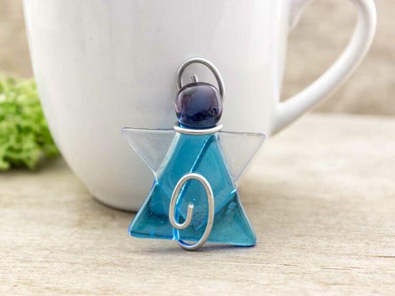 Kék és lila angyal üveg medál