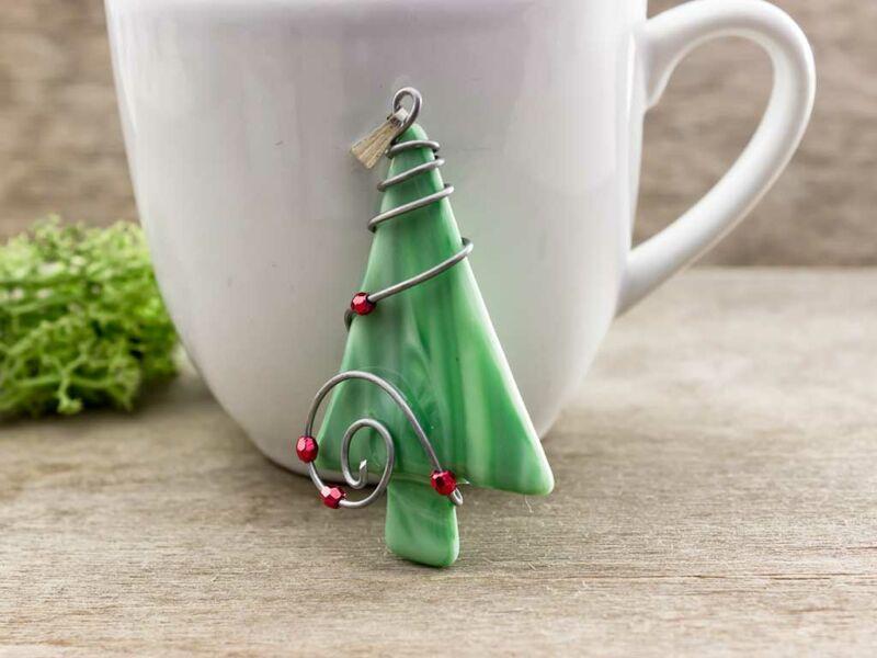 Zöld karácsonyfa üveg medál