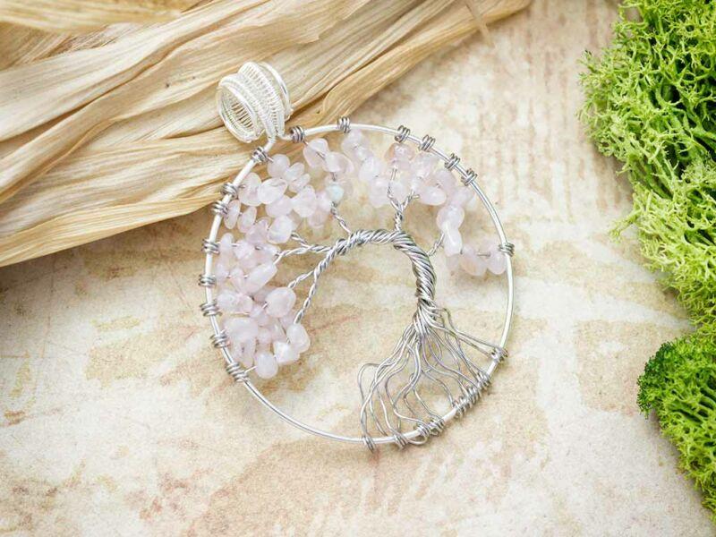 Körbe foglalt életfa rózsakvarc ezüst színű drót medál