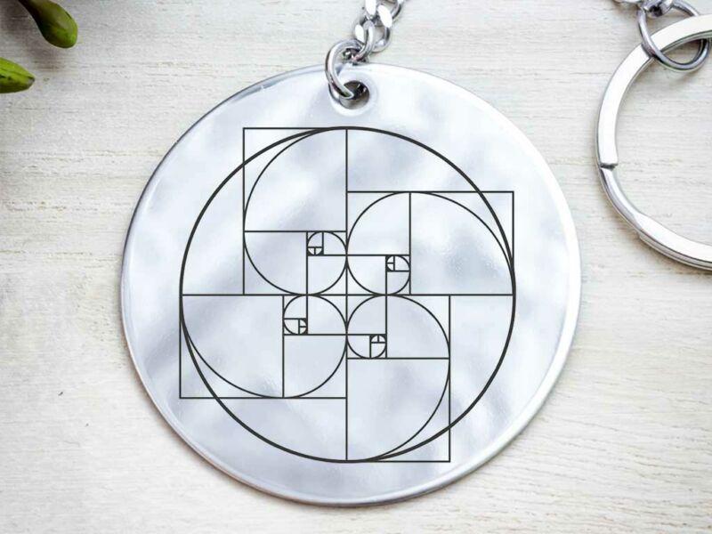 Fibonacci kerek acél medálos kulcstartó
